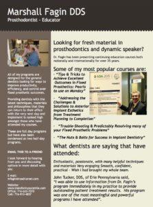 NEED A SPEAKER - Dr. Marshall Fagin, Prosthodontist